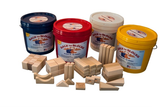 Wooden Blocks-60 Blocks In A Bright Colored Storage Bucket-Great For Preschool Age Child