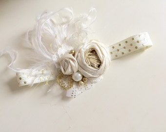 Gold Baby girl Headband- Baby Headband- Newborn Headband-Baby Hair Bow-Girls 1st Birthday-Gold Headband-Flower Girl