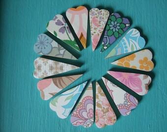 Vintage wallpaper heart magnets