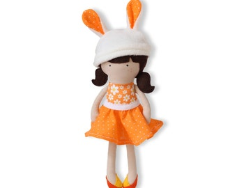 Handmade Dress Up Doll Bunny Cloth Doll Handmade Rag Doll Fashion Doll Soft Doll with Clothes - skirt, bunny hat - MADE TO ORDER