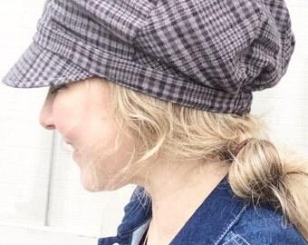 Womens Slouchy Newsboy, Hat for Women, Fabric Slouchy Women's Hat, Plaid Fabric Slouchy Hat, Hat for Large Heads, Hairloss Hat, Custom Hat