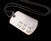 Personalized Dog Tag Necklace, Military Style Jewelry, Men's Necklace, Men's Jewelry, Gifts for Men, Latitude Longitude Coordinates Necklace