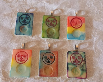 Choice of altered art alcohol ink dyed Joker Rummikub Game Piece Pendant Necklace