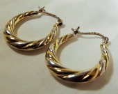 Earrings Hoops Sterling and 14KT Gold Vermeil Mixed Metal Twisted Graduated Hoops Versatile Day Evening Boho Chic Classic