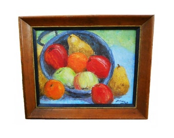 Vintage 1969 Country Mid Century Modern Fruit Still Life Oil on Board Painting Signed P.Coey Yellow Gold Orange Red Blue Painting Rustic