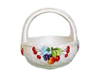 1930s French Country Ceramic Czechoslovakian Porcelain Repousse Basket Luster Ware Fruit Bowl Table Decor Pottery Vintage Cottage Farmhouse