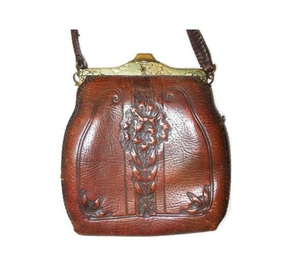 Antique Arts and Crafts Art Nouveau William Morris Stylized Floral Tree Tooled Leather Purse Vintage 1917 Jemco Handbag