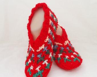 Handknitted Women Slippers, Short Socks, Striped Slippers, Red Slippers, UK Seller
