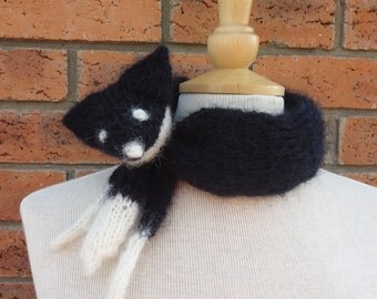 Fox Collar, Mohair Mini Fox Stole, Black Fox Neckwarmer, Handknitted Fox Collar, UK Seller