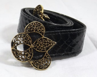 Reversible Black Patent Faux Snakeskin or Black Leather Belt One Size