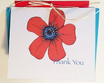 Red Poppy Flower Thank You Greeting Card - Set of 10-Available blank