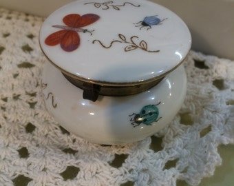 Vintage antique butterfly bug insect botanical trinket vanity hinged  jewelry box free shipping