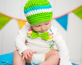 Baby Boy Easter Bow Tie Bodysuit with Suspenders and Visor Crocheted Hat - Lime Green, Easter Chevron, Photo Prop  - Baby Boy Easter