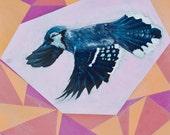 Blue Jay In Flight 10 x 10 Acrylic On Wood Panel Painting