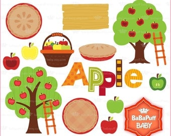 Buy 2 Get 2 Free ---- Thanksgiving Apple Harvest ---- Apple Pie. Apple Tree Clip Art. Personal and Small Commercial Use ---- BB 0862