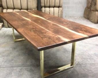 black walnut dining table custom brass base modern design