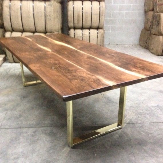 Black Walnut Dining Table Custom Brass Base Modern Design