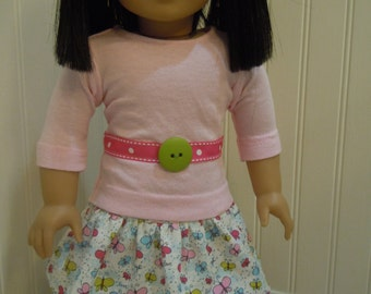 "American girl doll or 18"" doll outfit, skirt and t-shirt"