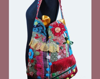"Boho style tote bag, multicolored tapestry bag ""Rainbow""  OOAK Bag made in France PS CENDRILLON"