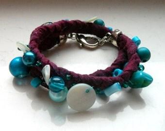 SALE! Blue Green Turquoise Crimson Plum Braided Wrap Bracelet - Inspired by Black Sails