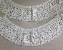 Pair of duchesse lace pieces, Venation gros point,fashion design,purse design, millinery,