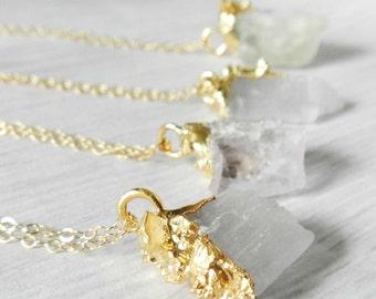 ON SALE ON Sale Kunzite necklace, Raw Gemstone, Gold necklace, Pink Kunzite, Gold Nugget, Druzy Gold