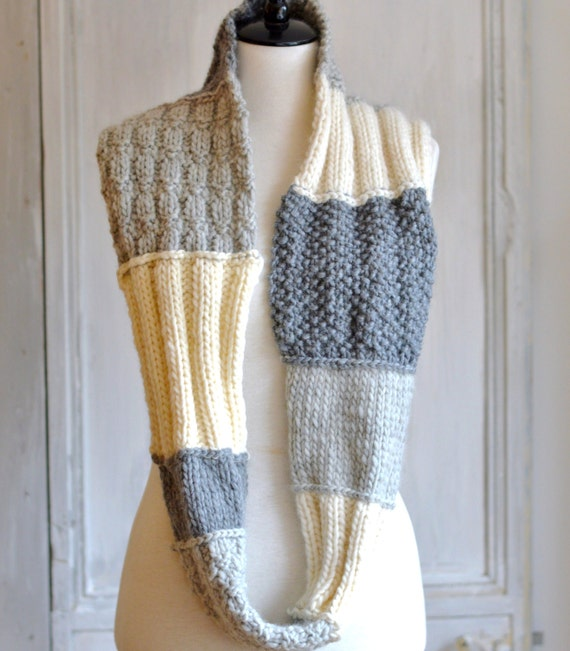 Beginner Knit Scarf Patterns : KNITTING PATTERN Infinity Scarf Easy Beginner by Richmondhillknits