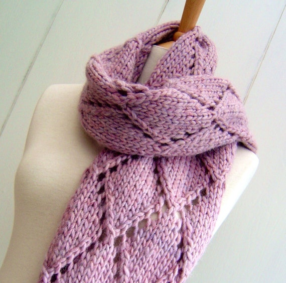Diamond Pattern Knitting : Knitting Pattern scarf wrap Easy Knit Diamond Lattice Scarf