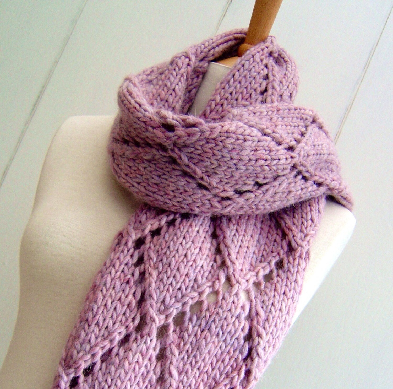 Knitting pattern scarf wrap easy knit diamond lattice scarf zoom bankloansurffo Gallery