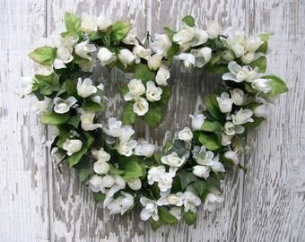 Spring Summer Wreath, Heart Wreath, Ivory Roses Wreath, Woodland Wreath, Valentine's Wreath, Mother's Day Wreath