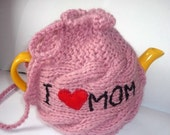 Valentines gift, TeaPot Cozy, Gift for Mom, Knitted tea cosy, tea pot cozy, I love Mom , Mothers day gift , available in other colors
