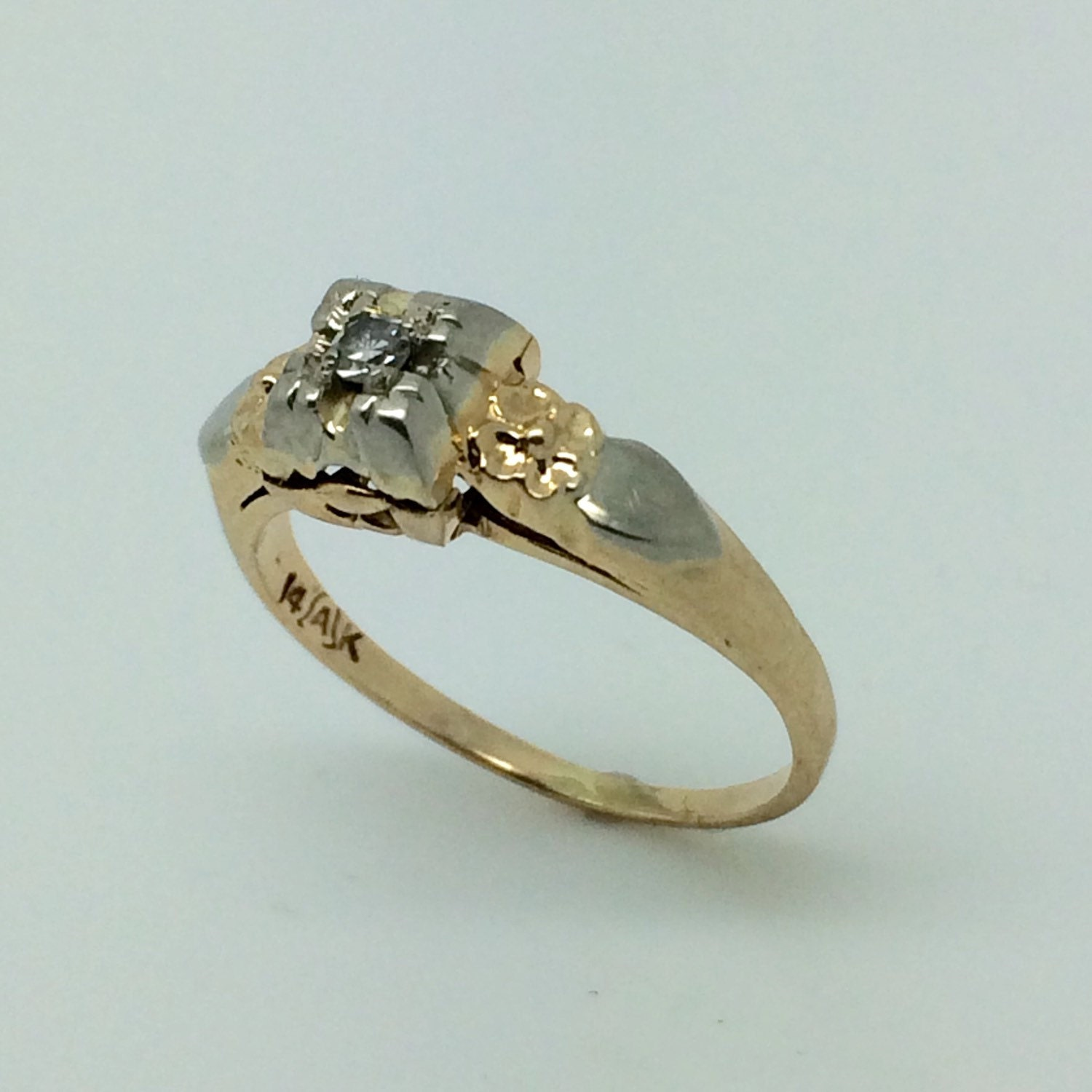 two tone antique engagement ring small floral 14k