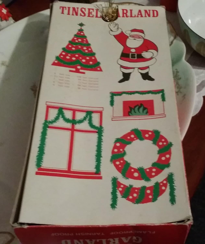 Vintage Christmas Tinsel Garland In Original Box Made In