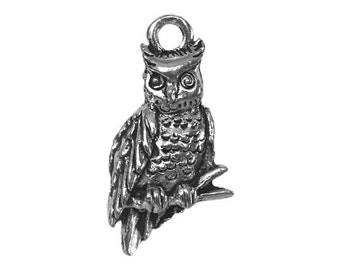 3 Owl 7/8 inch ( 22 mm ) Pewter Charms