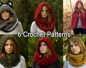 Six Crochet Patterns, Scarf Patterns Discount Package