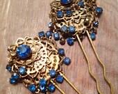 Decorative Hair Pins Bridal Blue Waterfall Rhinestone Filigree Dangle 50's