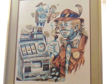 Vintage George Crionas S/N Stone Lithograph Limited Edition #149/200 Jackpot, Clown Playing Slot Machine, Professionally Framed, Rare