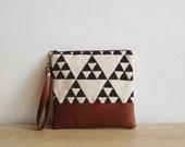 Geometric Clutch Purse, Wristlet, Cosmetic bag, Triangle Tribal Print