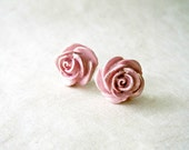 Pink Rose Earrings. Handmade Blush Pink Polymer Clay Flower Stud Earrings. Gold Dusted Rose Pink Bridesmaid Earrings. Spring Wedding Jewelry