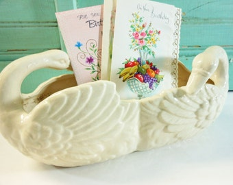 Vintage Double Swan Planter Handpainted Made in Japan