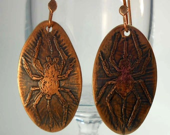 EEK Spiders! Ready to Ship Handmade Copper Spiders Earrings CPE91