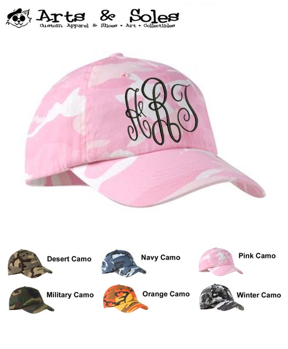 Personalized Camo Camouflage Embroidered Monograms Baseball Hat Cap by Arts and Soles
