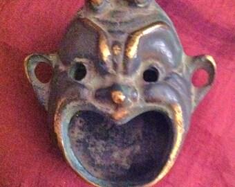 Brass Devil formed little ash tray