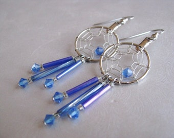 Blue Dreamcatcher Earrings - Dangle Silvertone Hoop Earrings - Statement Earrings