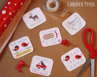 Printable Christmas Tags - Merry Christmas Gift Tags - Woodland - Instant Download-CC