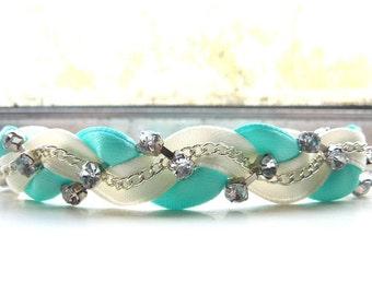 Ivory and Celeste Braided Ribbon & Chain Bracelet