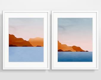 Abstract Art Print Set Scandinavian Art Wall Art Set Mid Century Modern Art Minimalist Art Ocean Art Sunset Painting Abstract Landscape