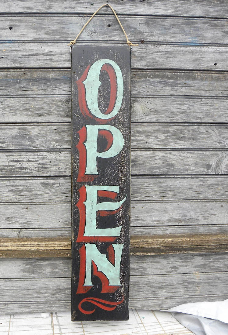 Open Sign hand painted faux vintage wooden sign Z SB TO 5