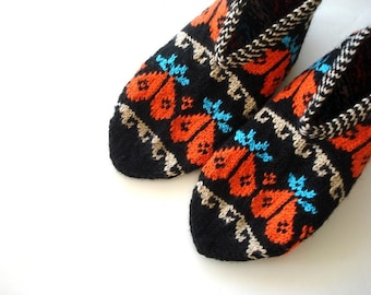knit slippers Black orange blue Beige Traditional Turkish Socks hand knitted Slippers, crochet socks, womens slippers home shoes woman gifts