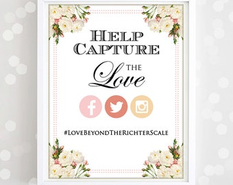 "Printable Instagram Poster Print - Wedding Photo Hashtag with EDITABLE text Sign Print  - INSTANT DOWNLOAD  Poster  ""Help capture the love"""
